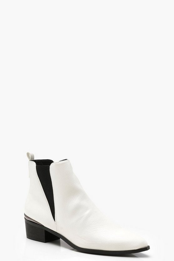 Womens White Pointed Toe Metallic Trim Chelsea Boots