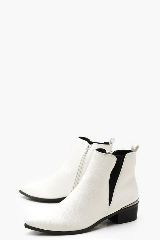 Pointed Toe Metallic Trim Chelsea Boots