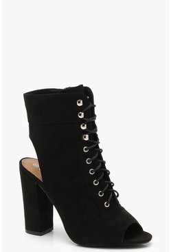 Womens Black Peeptoe Lace Up Open Back Shoe Boots