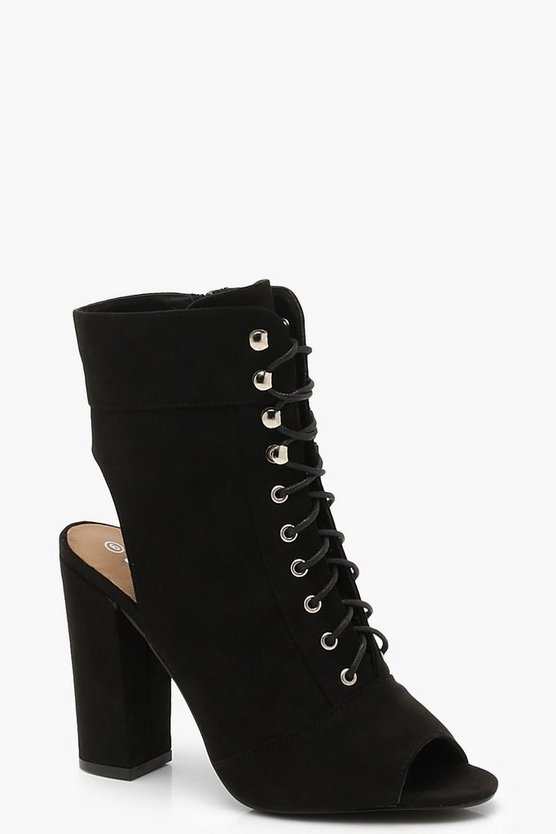 Peeptoe Lace Up Open Back Shoe Boots