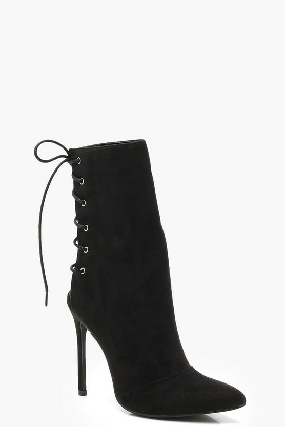 Womens Black Lace Up Back Sock Boots