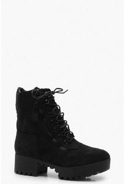 Womens Black Chunky Zip and Lace Up Hiker Boots