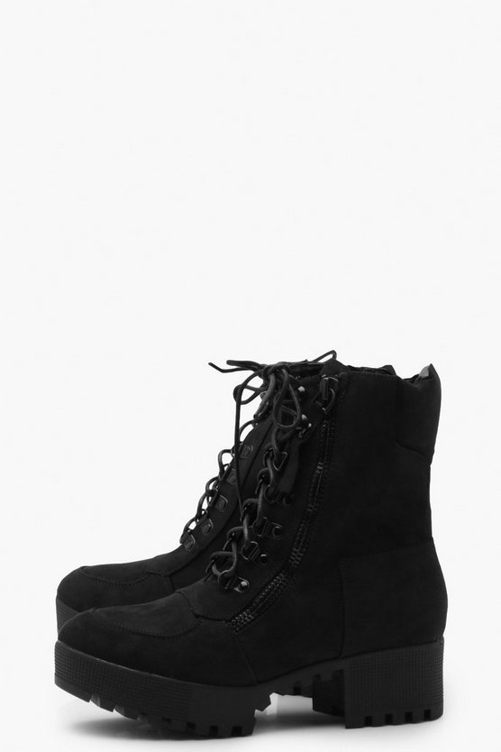 Chunky Zip and Lace Up Hiker Boots