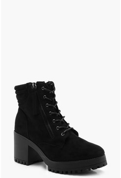 Dam Black Lace Up Chunky Hiker Boots
