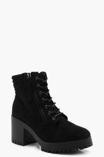 Womens Black Lace Up Chunky Hiker Boots