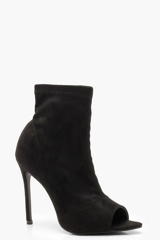 Peeptoe Pointed Toe Sock Boots