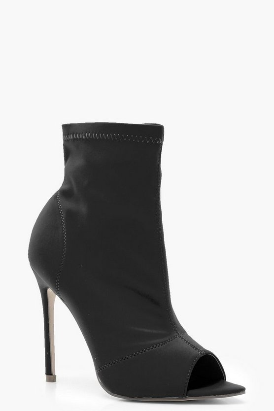 Pointed Peeptoe Sock Boots