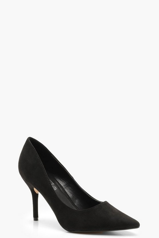 Black Pointed Mid Heel Court Shoes