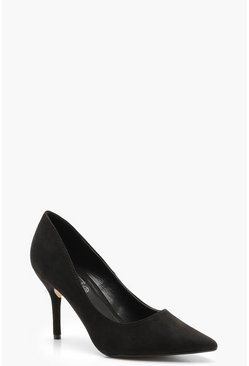 Womens Black Pointed Mid Heel Court Shoes