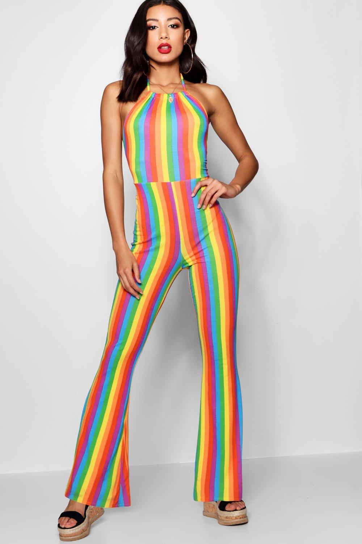70s Jumpsuit | Disco Jumpsuits – Sequin, Striped, Gold, White, Black Rainbow Stripe Flare Leg Jumpsuit $32.00 AT vintagedancer.com
