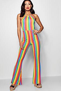 60s – 70s Pants, Jeans, Hippie, Bell Bottoms, Jumpsuits Rainbow Stripe Flare Leg Jumpsuit $40.00 AT vintagedancer.com