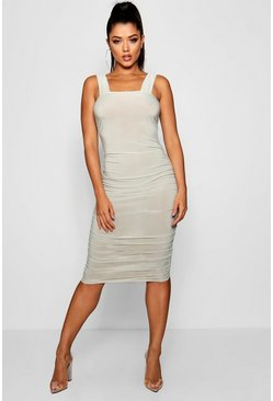 Womens Sage Square Neck Ruched Side Midi Dress