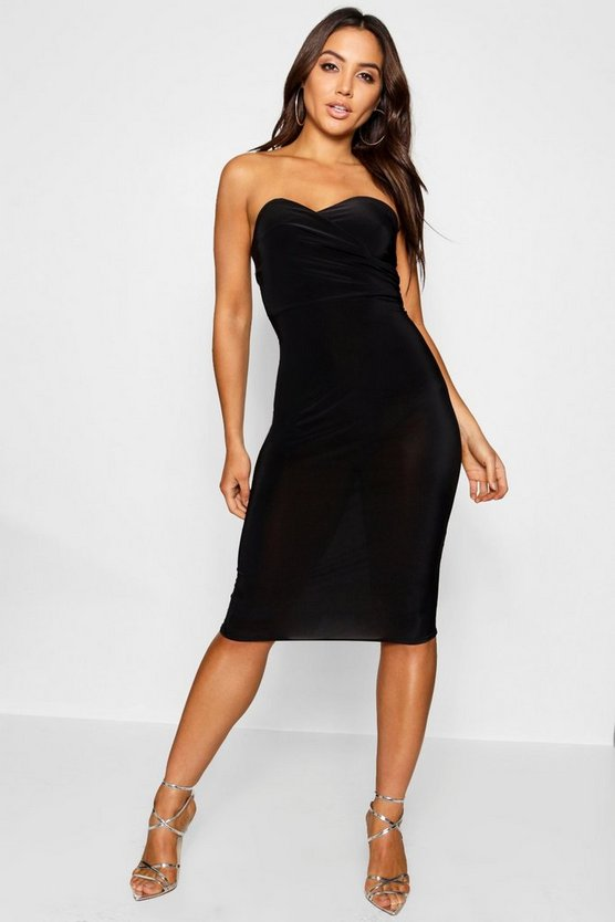 Womens Black Wrap Double Layer Bandeau Midi Dress
