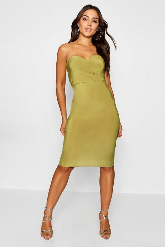 Womens Olive Wrap Double Layer Bandeau Midi Dress