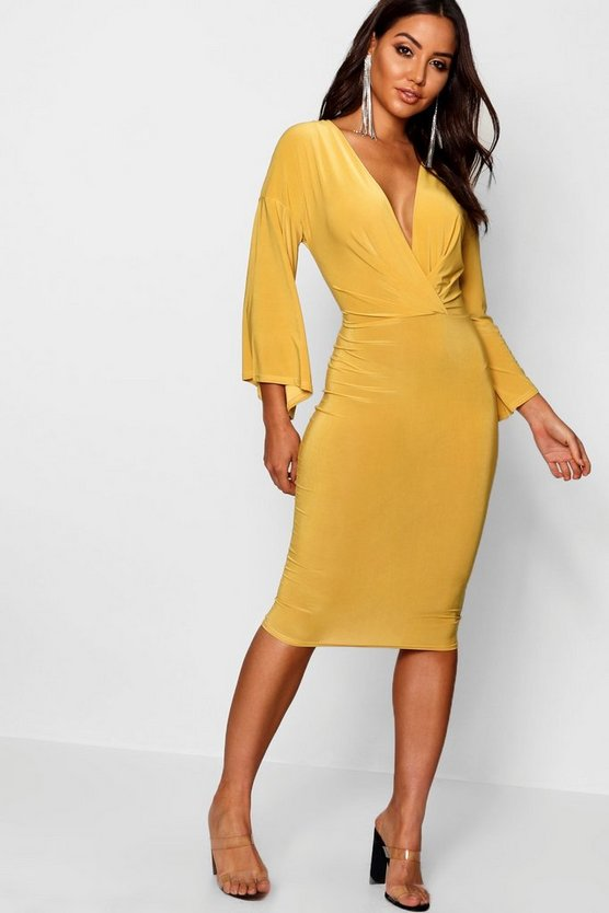 Wrap Flared Sleeve Midi Dress