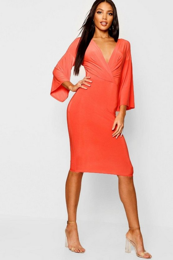 Womens Orange Wrap Flared Sleeve Midi Dress