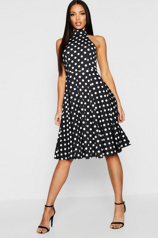 Polka Dot High Neck Midi Dress