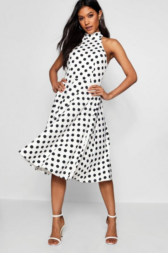 Womens White Polka Dot High Neck Midi Dress