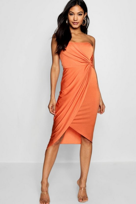 Bandeau Twist Wrap Detail Midi Dress