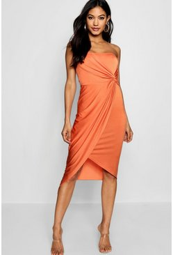 Womens Orange Bandeau Twist Wrap Detail Midi Dress