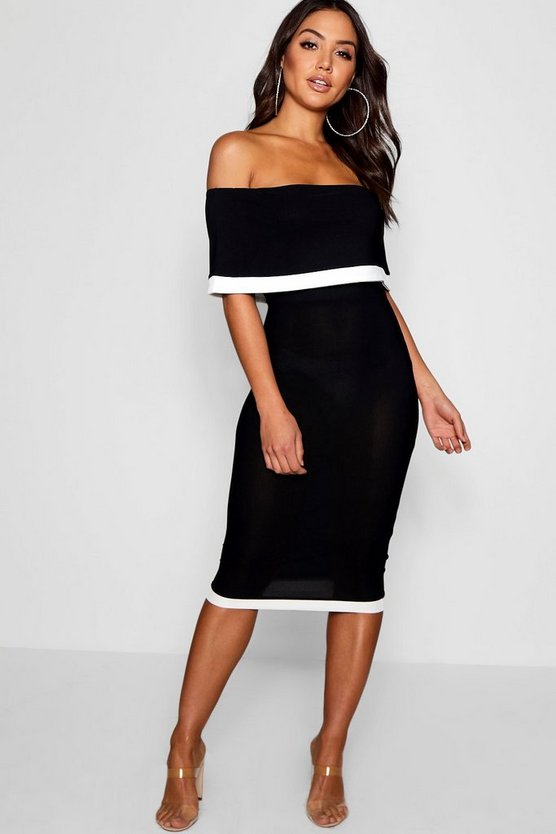 Womens Black Contrast Off the Shoulder Midi Dress