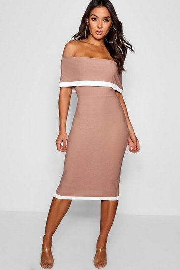 Womens Mocha Contrast Off the Shoulder Midi Dress