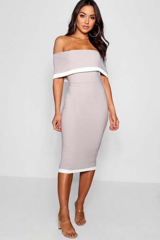 Womens Silver Contrast Off the Shoulder Midi Dress