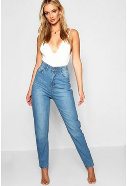 Mid blue Fabienne High Rise Mom Jean