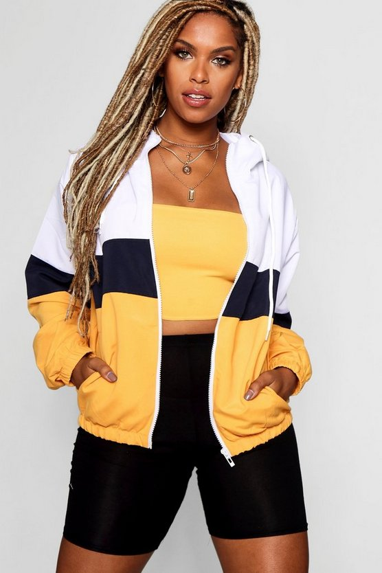 Womens Mustard Hooded Panelled Windbreaker