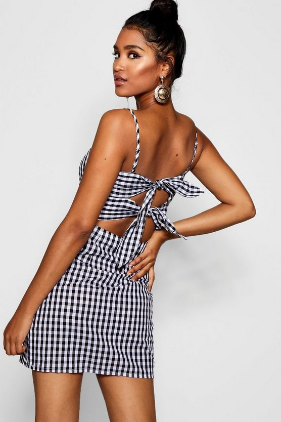 Gingham Tie Back Dress