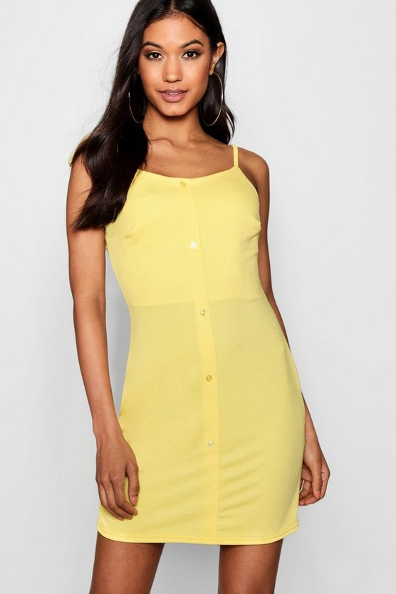 Button Through Tie Strap Sun Dress