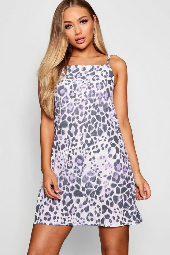 Leopard Print Cami Sun Dress, Lilac, ЖЕНСКОЕ