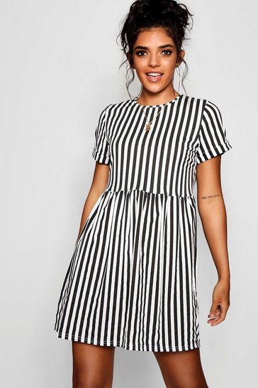 Womens Black Striped Gathered Waist Smock Dress