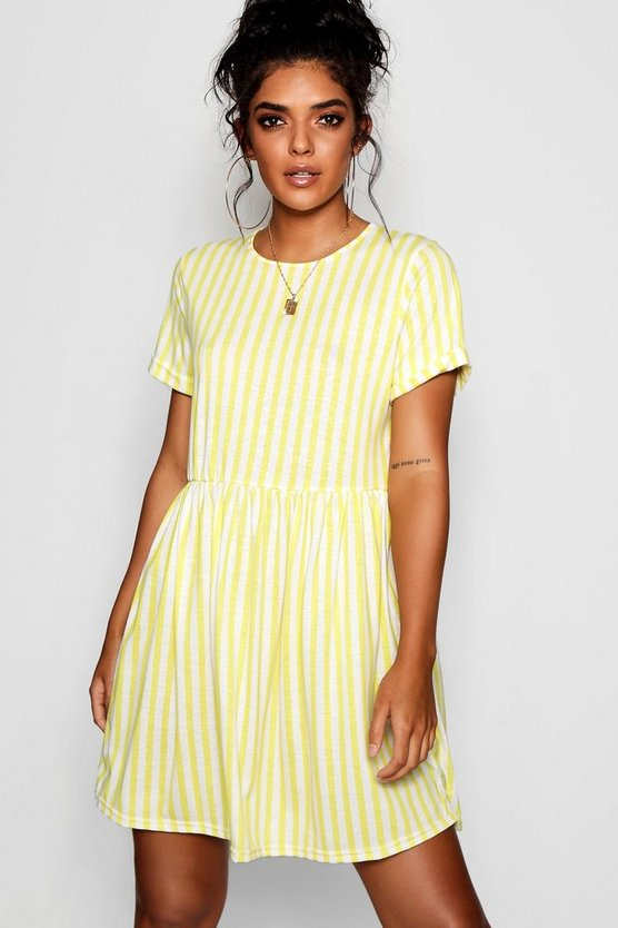 Womens Lemon Striped Gathered Waist Smock Dress