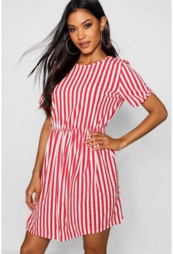 Womens Red Striped Gathered Waist Smock Dress