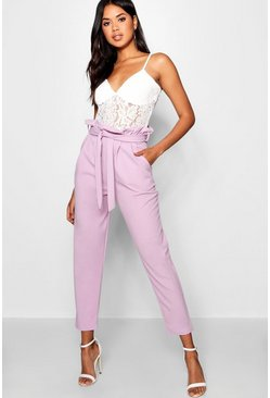 Womens Lilac Paperbag Waist Trouser