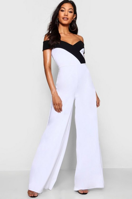 Womens White Contrast Lapel Bardot Jumpsuit