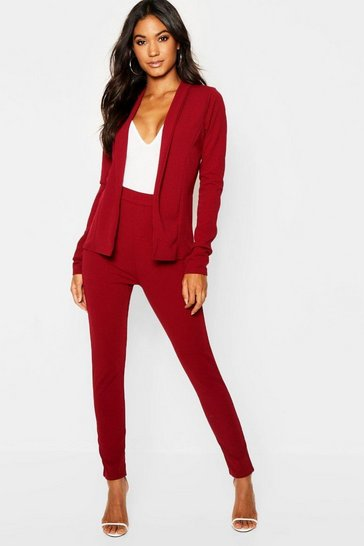 Womens Berry Crepe Fitted Suit