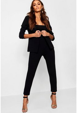 Womens Black Crepe Fitted Suit