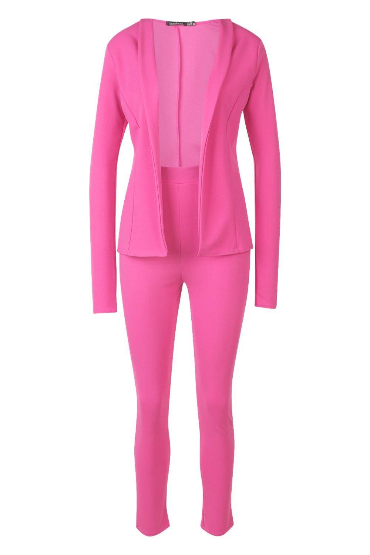 hot crepé en pink entallado Traje qz1pf