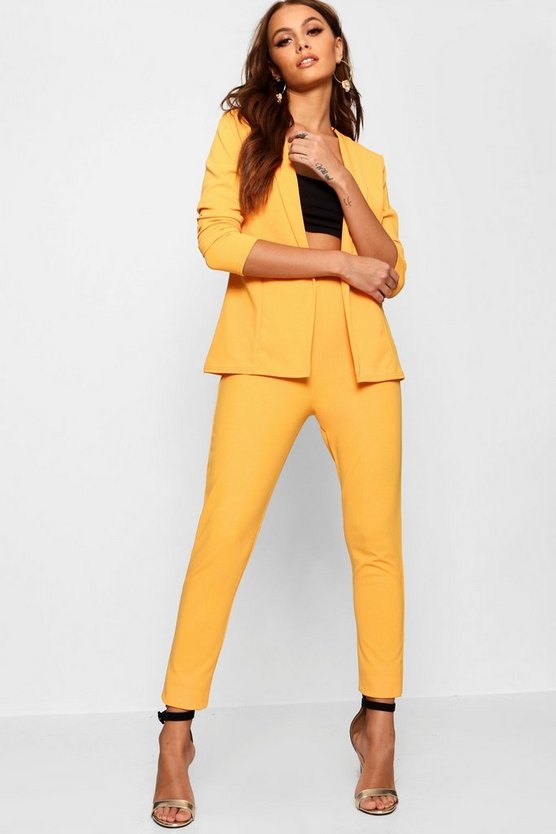 Womens Mustard Crepe Fitted Suit