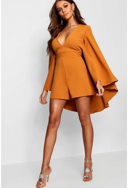 Womens Mustard Extreme Cape Sleeve Plunge Playsuit