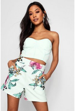 Womens Mint Floral Print Tailored Short