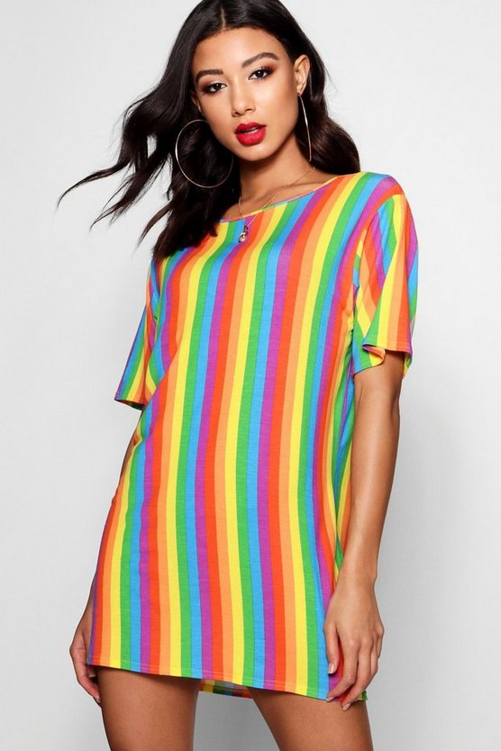 Womens Multi Rainbow Stripe T-Shirt Dress