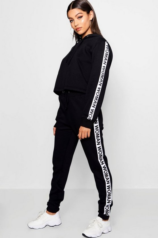 Black Athleisure Woman Slogan Tracksuit