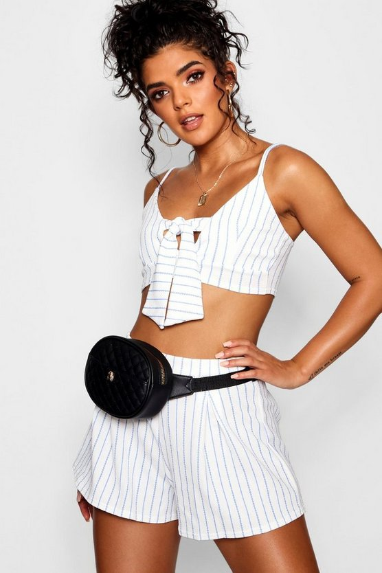 Stripe Tie Front Bralet Short Co-ord Set