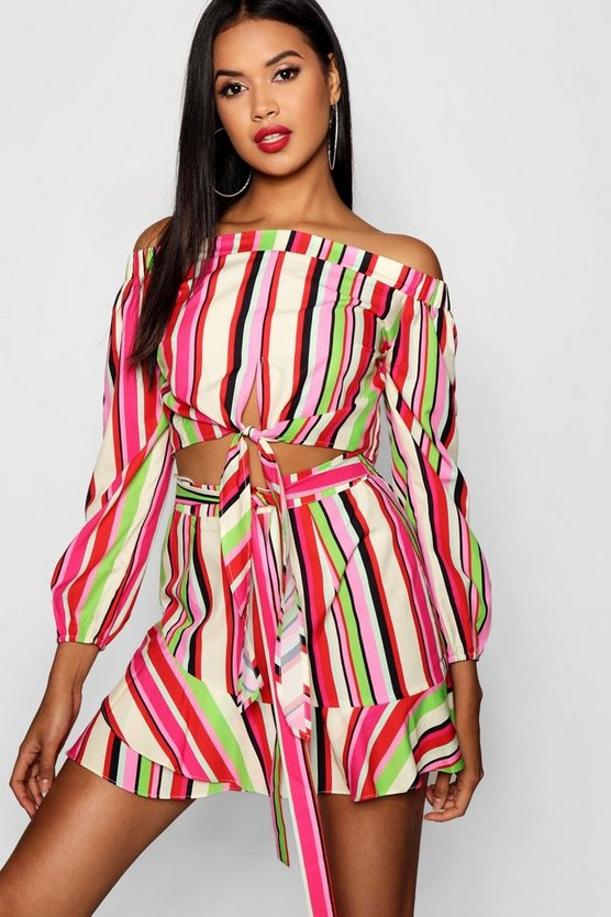 Womens Pink Kenoy Stripe Bardot Top Frill Skirt Co-ord Set
