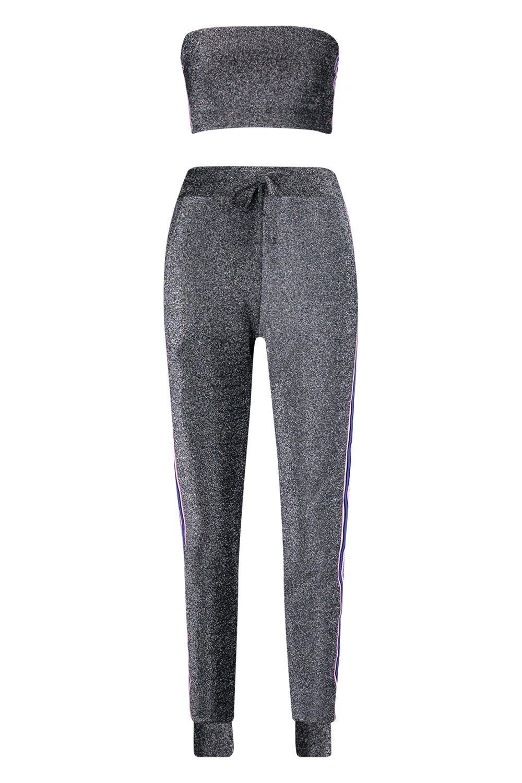 Conjunto detalle negro Adly palabra honor cinta de de de y top pantalones con de correr 4fqg4vrxwn