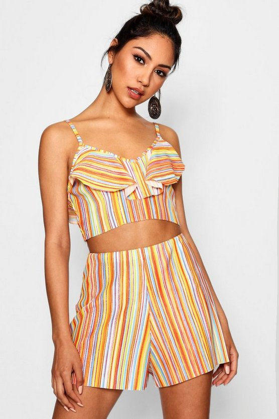 Womens Yellow Rainbow Pleated Crop Top Short Co-ord Set