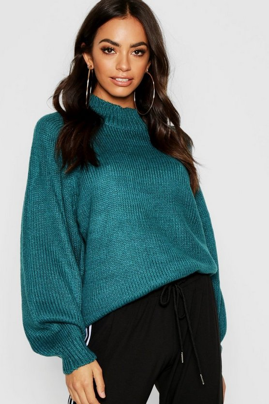 Balloon Sleeve Soft Knit Jumper